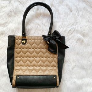 Betsey Johnson Quilted Heart Bow Tote Bag
